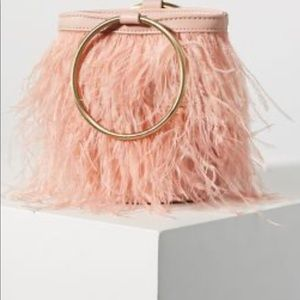 Anthropologie Evelyn Feather Blush Pink BucketBag